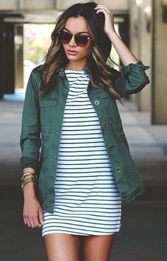 Black and white striped cotton dress with army jacket