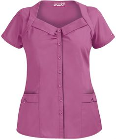 UA422C Butter-Soft Scrubs by UA™ Women's Rolled Collar Button Front Scrub Top in Mauvelous $15.99 http://www.uniformadvantage.com/pages/prod/ua422c-rolled-collar-top.asp?navbar=11=chpie