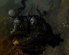 The Iron Warriors are resolute in their beliefs that the Emperor thoroughly used… Warhammer Art, Warhammer Fantasy, Warhammer 40000, Chaos 40k, Chaos Lord, Military Art, Military History, Ork Warboss, Chaos Daemons