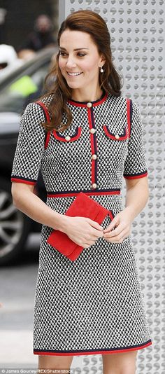 Kate looked ladylike in a Gucci tweed dress costing £1,790