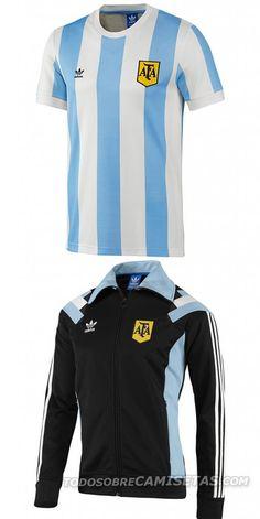 Argentina, especial retro mundial 2014 New Football Shirts, Classic Football Shirts, Football Gear, Team T Shirts, Adidas Retro, Fifa World Cup, Salvador, Motorcycle Jacket, Tacos