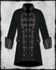 MENS BLACK COPPER BUTTONS STEAMPUNK GOTH MILITARY PIRATE JACKET COAT