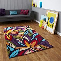 Shop for high quality rugs at great prices. Buy the Hong Kong HK 680 Modern Rug - Dark Multi at a great price and get free fast delivery. Funky Rugs, Colorful Rugs, Multicoloured Rugs, Grey Furniture, Furniture Design, Hong Kong, Purple Rooms, Rug World, Vintage Shabby Chic
