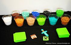 Minecraft Birthday Party. Perler bead craft table {Made by a Princess Parties in Style}