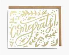 Congrats! Metallic Gold Congratulations Screen Printed Folding Card