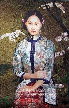 Chinese Lady, hand embroidered silk art painting, handmade embroidery, silk embroidery by embroidery artists in Suzhou China, Su Embroidery Studio