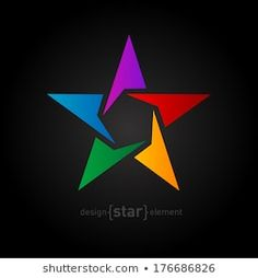 Abstract rainbow star vector design element on black background. Web Design, Vector Design, Pentagon Logo, String Art Patterns, Love Logo, Rainbow Star, Beautiful Rangoli Designs, Rainbow Flowers, Art Reference Poses