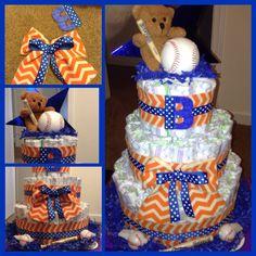 Auburn baseball theme diaper cake