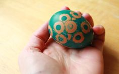 Make interesting sticker resist Easter eggs using hole reinforcement stickers