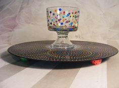 vintage vinyl record album repurposed as party platter or cake stand