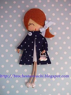 felt girl by gloriaU Felt Fabric, Fabric Dolls, Paper Dolls, Felt Diy, Felt Crafts, Felt Dolls, Doll Toys, Sewing Crafts, Sewing Projects