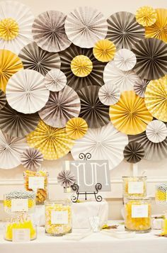 DIY wedding planner with diy wedding ideas and How To info including DIY wedding decor inspiration and tutorials. Everything a DIY bride needs to have a fabulous wedding on a budget! ideas for papers decorations here Party Decoration, Paper Decorations, Flower Decorations, Yellow Decorations, Pinwheel Decorations, Wedding Centerpieces, Wedding Table, Diy Wedding, Wedding Flowers