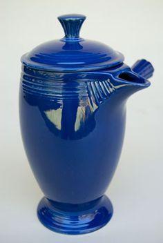 VIntage Fiestaware, Original Cobalt Blue, Demitasse Coffeepot, A. Vintage Dishware, Antique Glassware, Antique Bottles, Vintage Bottles, Vintage Perfume, Blue Pottery, Vintage Pottery, Handmade Pottery, Talavera Pottery