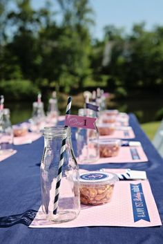 Love this table at a Nautical baby shower!   See more party ideas at CatchMyParty.com!