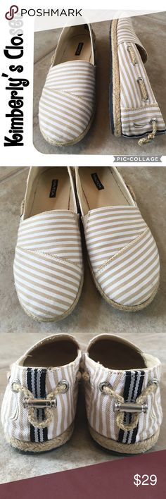 🛍NAUTICA shoes🛍 NAUTICA espadrille loafers.  White and tan stripes.  Nautica ship logo embroidered on each heel.  Adorable rope details and navy accent stripe down the heel make these perfect for any summer time adventure.  Only worn a couple of times - great condition! Nautica Shoes Flats & Loafers