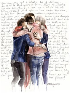 "Watercolor Portrait of One Direction with ""History"" lyrics"