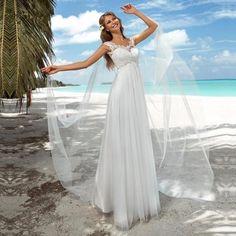 2016 Summer Boho Beach Wedding Dress Romantic Tulle Appliques Sweep Train Cheap Bridal Dresses Robe De Mariage
