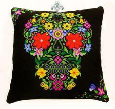 Urban Cross Stitch #floral #skull cushion #homewares
