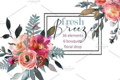 Pink Peonies Watercolor Clipart by whiteheartdesign on @creativemarket