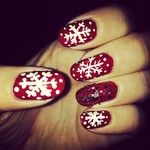 Metallic red snowflake nails! #FestiveFingertips