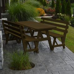 Outdoor A & L Furniture Yellow Pine Couples Picnic Table with 2 Backed Benches