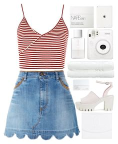 """""""♡playdate♡"""" by charli-oakeby ❤ liked on Polyvore featuring RED Valentino, Topshop, Chanel, Nly Shoes, NARS Cosmetics, Linum Home Textiles, Fuji, SUQQU, Summer and happy"""
