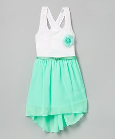Another great find on #zulily! Mint Floral Appliqué Hi-Low Dress - Girls by G&J Relations #zulilyfinds