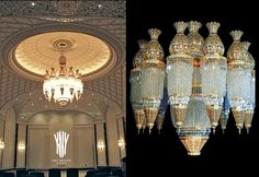 Gold Crystal Chandelier AG 69 Decorative Lighting by Kny Design Austria with Swarovski Elements and special ornaments 24ct. Gold Plated Diameter 2300 mm - Height 270 mm - Lights LED or 99 x Halopin - www.kny-design.com Swarovski, Decorative Lighting, Led, Light Decorations, Austria, Taj Mahal, Art Deco, It Cast, Chandelier
