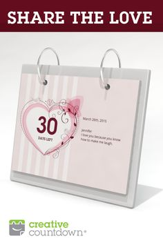 Share the love this Valentine's Day with a personalized countdown.  Perfect for upcoming wedding, baby, anniversary, or getaway.