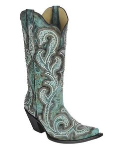 Corral Women's Turquoise Shaded Embroidery and Stud Cowgirl Boots - G1249