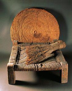 Home furnishings:fiber basket, wood stool and broom from Deir el Medina.New Kingdom,18th Dynasty c.a. 1550-1292 B.C.
