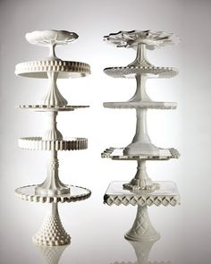 Many dazzling designs of dessert stands are avilable for less than $100. The largest versions (once used in window displays of bake shops) are rare and often more expensive, as are colored stands. Vibrant shades didn't crop up until the 1870's, when eye-catching hues grew trendy in home decor and the demand for colored glassware followed.
