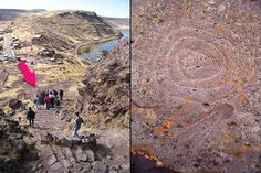 Mysterious magnetic rock at Sillustani (Peru). On this rock a spiral was carved, if a compass is moved in a circular path in front of it, the needle begins to spin. Probably this is due to the presence of magnetic material inside the rock, but how the ancient Inca who made this carving could know this fact?