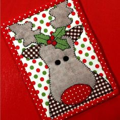 Mug Rug More Rudolph with your nose so bright, won't you light my way to Christmas Cheer! This is a great mug rug for your home, office, a gift for a quilty friend or send it as a postcard during the Christmas season! Finished Mug Rug measures 5 Christmas Mug Rugs, Christmas Applique, Christmas Crafts, Christmas Quilt Patterns, Christmas Placemats, Xmas, Christmas Items, Christmas Presents, Quilted Christmas Gifts