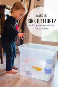 Will their toys sink or float? Find out with a fun science experiment that's just perfect for toddlers! Will their toys sink or float? Find out with a fun science experiment that's just perfect for toddlers! Science Activities For Toddlers, Science Experiments For Preschoolers, Lesson Plans For Toddlers, Cool Science Experiments, Preschool Science, Infant Activities, Kid Science, Sorting Activities, Sensory Activities
