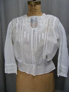 552554c18aebdb Victorian Blouse White Cotton Shirt Lace Bodice 3 4 Sleeve Vintage Clothing Edwardian  Blouse SM
