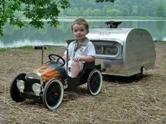 The combo pedal car and AirStream trailer are adorable!