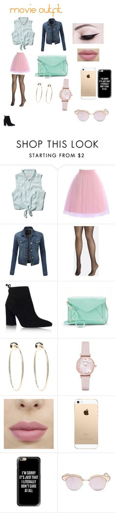 """""""movie outfit"""" by minions4ever123 on Polyvore featuring Abercrombie & Fitch, LE3NO, Avenue, Stuart Weitzman, Apt. 9, Bebe, Emporio Armani, Casetify and Le Specs"""