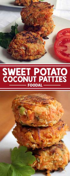 Sweet Potato Coconut Patties Looking for a flavorful and satisfying veggie burger? Try these sweet potato patties with chili, coconut and a dash of lime. Eat them on their own, or gussy them up with all the fixins. Read on for the recipe now! Sweet Potato Patties, Sweet Potato Fritters, Veggie Patties, Fish Patties, Veggie Burgers, Real Food Recipes, Vegetarian Recipes, Cooking Recipes, Healthy Recipes