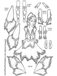 Fairy Paper Dolls to Color - Bing images Fairy Coloring Pages, Adult Coloring Pages, Coloring Books, Free Coloring, Kids Coloring, Paper Puppets, Paper Toys, Origami, Paper Art