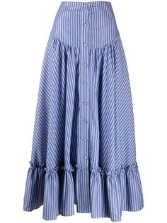 Modest Fashion, Hijab Fashion, Fashion Dresses, Long Skirt Outfits, Button Up Skirts, Look Fashion, Fashion Design, Stripes Fashion, Cotton Dresses