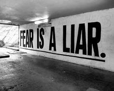 fear is a liar   Don't listen to it when it's whispering in your ear.