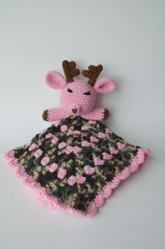 Items similar to Deer Hunting Camo Lovey Security Blanket on.-Items similar to Deer Hunting Camo Lovey Security Blanket on Etsy Deer Hunting Camo Lovey Security Blanket - Crochet Security Blanket, Crochet Lovey, Lovey Blanket, Crochet Blanket Patterns, Baby Blanket Crochet, Crochet Yarn, Crochet Toys, Free Crochet, Knitting Patterns