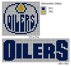 Here is patterns for the logos and name plates for the current teams of the NHL. If anyone would like the patterns for any of the teams tha. Bead Loom Patterns, Beading Patterns, Cross Stitch Patterns, Perler Patterns, Beading Ideas, Bracelet Patterns, Knit Patterns, Hockey Logos, Nhl Logos