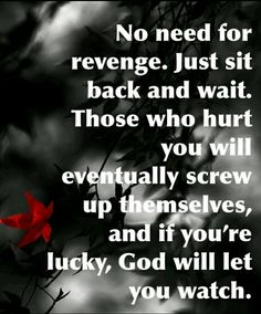 something that all narcissists and abusers deserve and get in the end.  Their flying.monkeys who know the real them and still help and lie for them will also get a nice heaping of God's vengeance.  Just be careful not to rejoice for it is written in Prov 24:17-20 He will turn his wrath away from the evil doer. #abuserecovery #toxic #narcissistic #vengeance