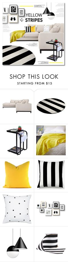 """""""yellow and stripes"""" by limass ❤ liked on Polyvore featuring interior, interiors, interior design, home, home decor, interior decorating, West Elm, Unison and Kate Spade"""