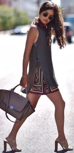 #summer #lovely #outfits | Grey Knit Top + Embellished Skirt