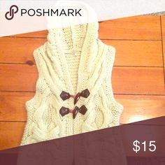 Free People sweater vest, women's XS Cream colored sweater vest, size XS with wooden buttons. Free People Sweaters Cardigans