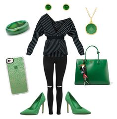 """""""Wicked Witch turned fashionista on her way to the emerald city x"""" by robynrobynrobynrobyn ❤ liked on Polyvore featuring Topshop, Nine West, Prada, Casetify, BillyTheTree, Latelita and Palm Beach Jewelry"""