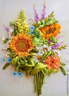 """*RIBBON ART ~ Paintings of flowers handmade. Fair Masters - Painting handmade embroidered ribbons """"BOUQUET - COMPLIMENT."""" Handmade."""